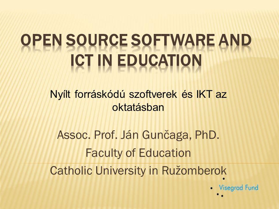  Kezdetben inkább fizetős szoftvereket használtak Példa: INFOTIME projekt Szlovákiában (a matematika oktatásához központilag vásárolt Derive és Cabri Geometry szoftver) Ezek a Texas Instruments termékei  Később fejlődésnek indultak a nyílt forráskódú szoftverek