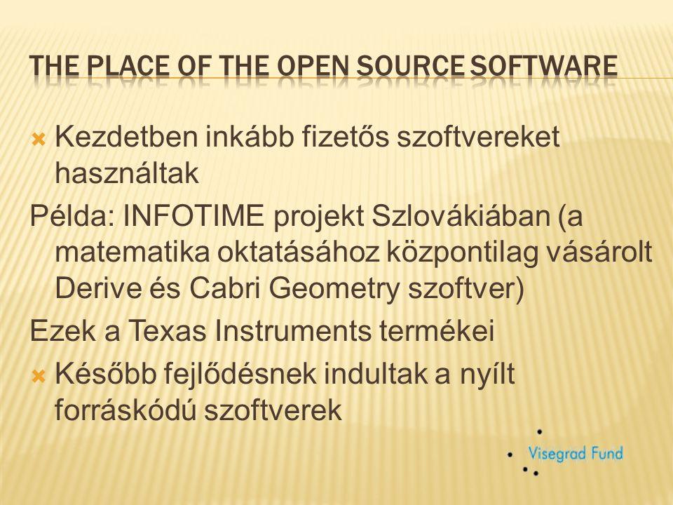 """ A nyílt forráskódú szoftverek ugrásszerű elterjedése a harmadik világban  Csökkent a fizetős szoftverek használata az oktatásban  Projekt """" Free Open Source Software for Schools (SOS)  Különféle oktató szoftverek, KompoZer – wysiwyg HTML editor  GeoGebra, webnode.cz webpage"""