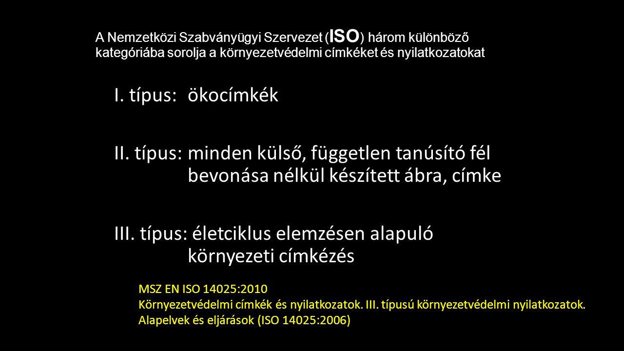 A Nemzetközi Szabványügyi Szervezet ( ISO ) három különböző kategóriába sorolja a környezetvédelmi címkéket és nyilatkozatokat I. típus: ökocímkék II.