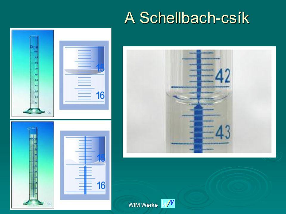 WIM Werke Mérési pontosság Kevésbé pontos térfogatmérő eszközök mérőhengermérőhenger Elérhető pontosság: 0,1 cm 3, esetleg 0,01 cm 3 Pontos térfogatmérő eszközök mérőlombikmérőlombik piknométerpiknométer bürettabüretta pipetták (kétjelű hasas)pipetták (kétjelű hasas)