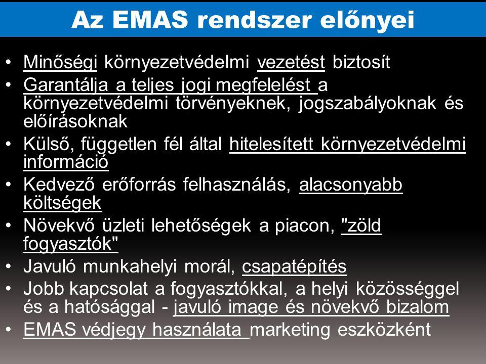 Az EMAS rendszer előnyei Minőségi környezetvédelmi vezetést biztosít Garantálja a teljes jogi megfelelést a környezetvédelmi törvényeknek, jogszabályoknak és előírásoknak Külső, független fél által hitelesített környezetvédelmi információ Kedvező erőforrás felhasználás, alacsonyabb költségek Növekvő üzleti lehetőségek a piacon, zöld fogyasztók Javuló munkahelyi morál, csapatépítés Jobb kapcsolat a fogyasztókkal, a helyi közösséggel és a hatósággal - javuló image és növekvő bizalom EMAS védjegy használata marketing eszközként