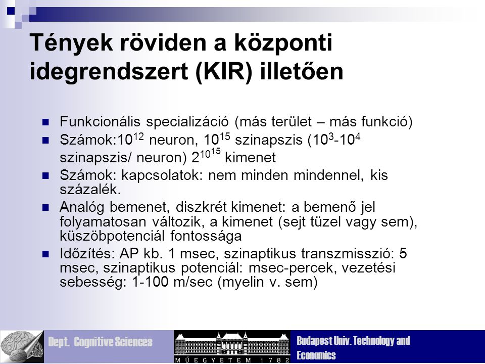 Dept. Cognitive Sciences Budapest Univ. Technology and Economics Tények röviden a központi idegrendszert (KIR) illetően Funkcionális specializáció (má