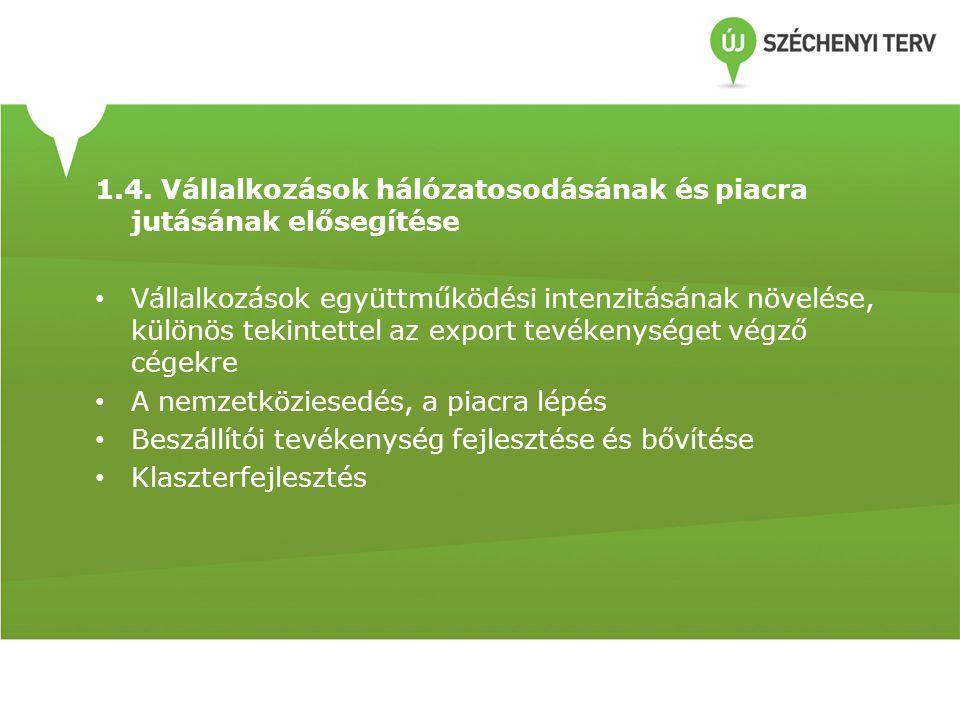 1.4. Vállalkozások hálózatosodásának és piacra jutásának elősegítése Vállalkozások együttműködési intenzitásának növelése, különös tekintettel az expo