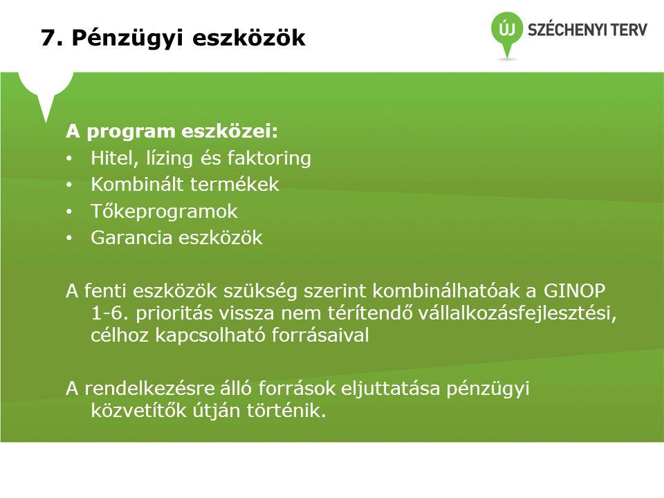 7. Pénzügyi eszközök A program eszközei: Hitel, lízing és faktoring Kombinált termékek Tőkeprogramok Garancia eszközök A fenti eszközök szükség szerin