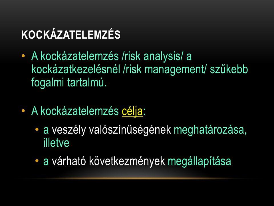 KOCKÁZATELEMZÉS A kockázatelemzés /risk analysis/ a kockázatkezelésnél /risk management/ szűkebb fogalmi tartalmú. A kockázatelemzés célja: a veszély