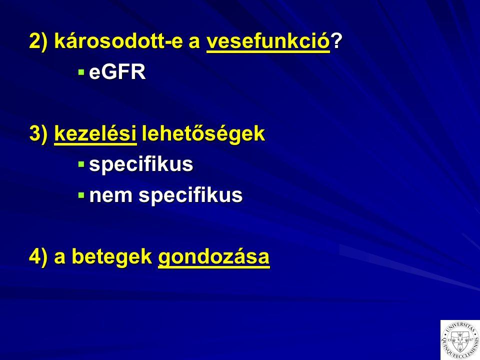 2) károsodott-e a vesefunkció?  eGFR 3) kezelési lehetőségek  specifikus  nem specifikus 4) a betegek gondozása