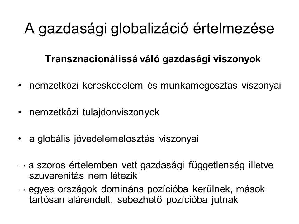 A gazdasági globalizáció értelmezése Transznacionálissá váló gazdasági viszonyok nemzetközi kereskedelem és munkamegosztás viszonyai nemzetközi tulajd