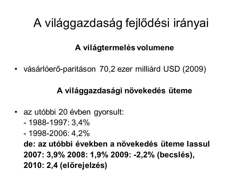 A világgazdaság fejlődési irányai A világtermelés volumene vásárlóerő-paritáson 70,2 ezer milliárd USD (2009) A világgazdasági növekedés üteme az utó