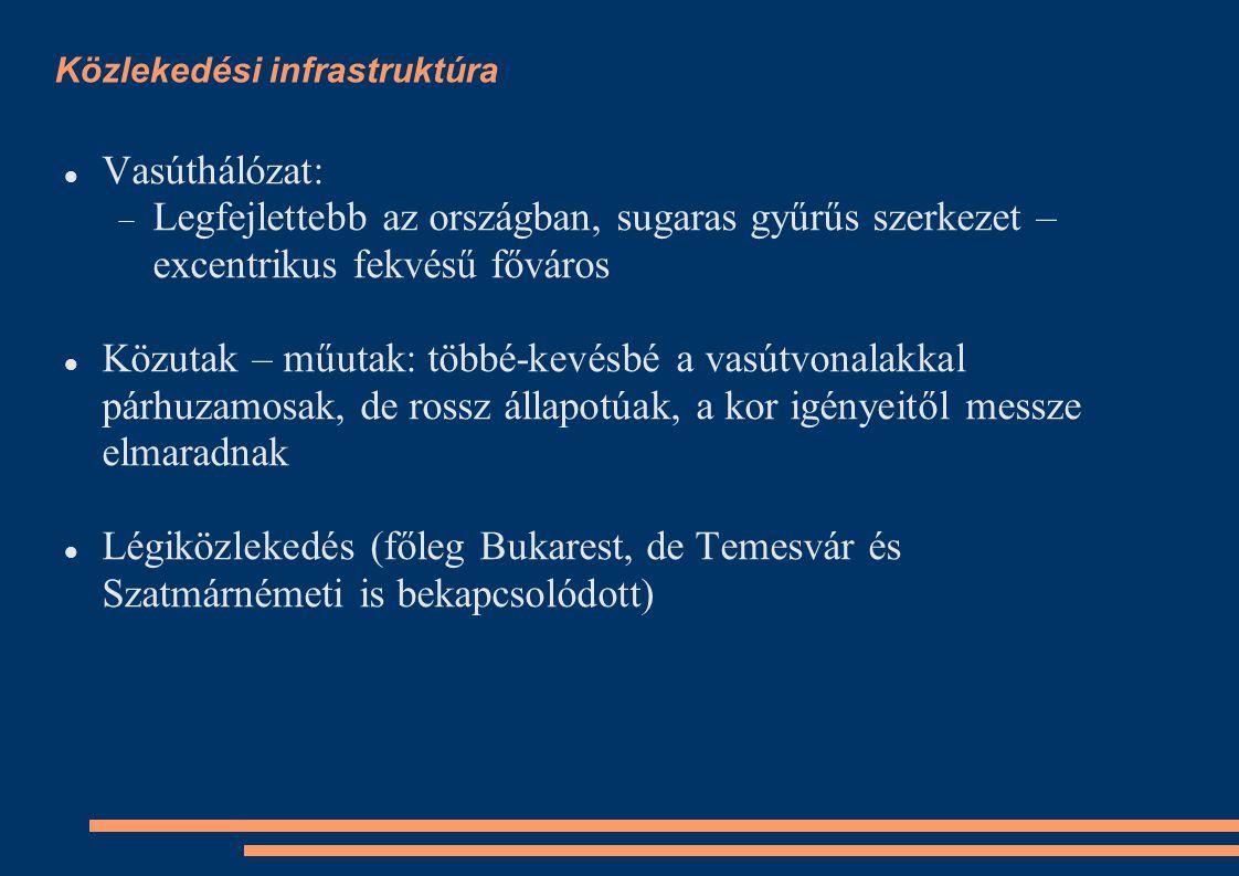 Közlekedési infrastruktúra Vasúthálózat:  Legfejlettebb az országban, sugaras gyűrűs szerkezet – excentrikus fekvésű főváros Közutak – műutak: többé-kevésbé a vasútvonalakkal párhuzamosak, de rossz állapotúak, a kor igényeitől messze elmaradnak Légiközlekedés (főleg Bukarest, de Temesvár és Szatmárnémeti is bekapcsolódott)