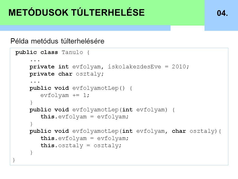METÓDUSOK TÚLTERHELÉSE 04. public class Tanulo {...