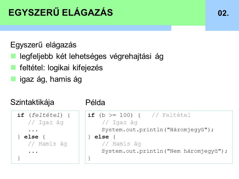 EGYSZERŰ ELÁGAZÁS 02.