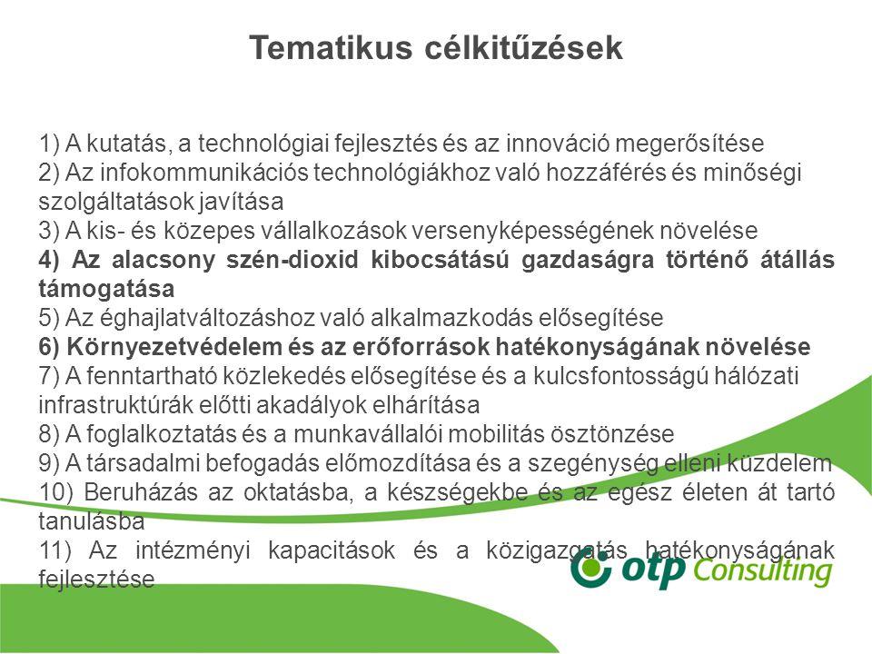 Tematikus célkitűzések 1) A kutatás, a technológiai fejlesztés és az innováció megerősítése 2) Az infokommunikációs technológiákhoz való hozzáférés és minőségi szolgáltatások javítása 3) A kis- és közepes vállalkozások versenyképességének növelése 4) Az alacsony szén-dioxid kibocsátású gazdaságra történő átállás támogatása 5) Az éghajlatváltozáshoz való alkalmazkodás elősegítése 6) Környezetvédelem és az erőforrások hatékonyságának növelése 7) A fenntartható közlekedés elősegítése és a kulcsfontosságú hálózati infrastruktúrák előtti akadályok elhárítása 8) A foglalkoztatás és a munkavállalói mobilitás ösztönzése 9) A társadalmi befogadás előmozdítása és a szegénység elleni küzdelem 10) Beruházás az oktatásba, a készségekbe és az egész életen át tartó tanulásba 11) Az intézményi kapacitások és a közigazgatás hatékonyságának fejlesztése
