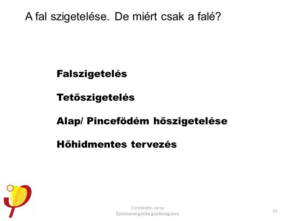 Constantin Jurca Épületenergetika gazdaságosan 15 A fal szigetelése.