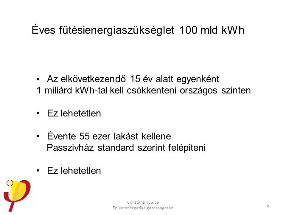 Constantin Jurca Épületenergetika gazdaságosan 6 Éves fütésienergiaszükséglet 100 mld kWh Az elkövetkezendő 15 év alatt egyenként 1 miliárd kWh-tal kell csökkenteni országos szinten Ez lehetetlen Évente 55 ezer lakást kellene Passzivház standard szerint felépiteni Ez lehetetlen
