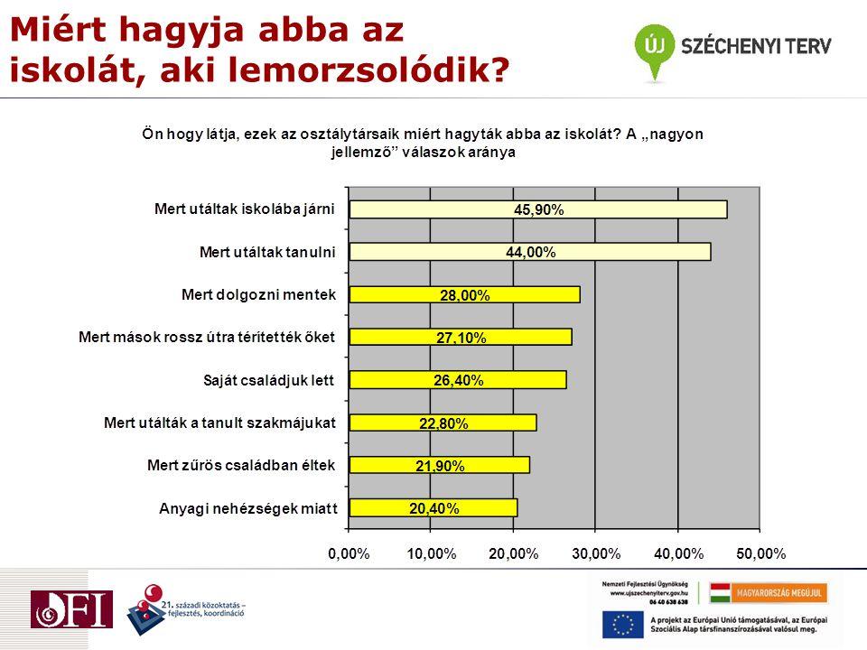 A kudarc látványos, a siker láthatatlan  Pozitív változások: –Sokan – sok roma – a szabályozás miatt folytatja tanulmányait, többségük konform, erőfeszítéseket is tesz.