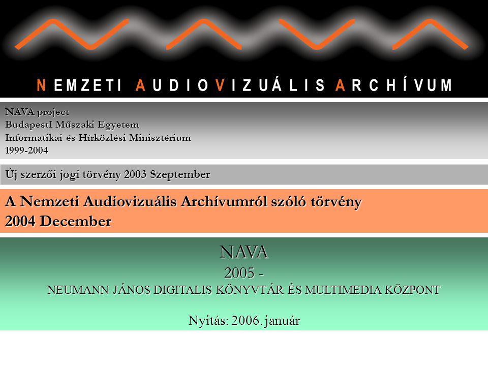 N E M Z E T I A U D I O V I Z U Á L I S A R C H Í V U M NAVA project BudapestI Műszaki Egyetem Informatikai és Hírközlési Minisztérium 1999-2004 NAVA 2005 - NEUMANN JÁNOS DIGITALIS KÖNYVTÁR ÉS MULTIMEDIA KÖZPONT Nyitás: 2006.
