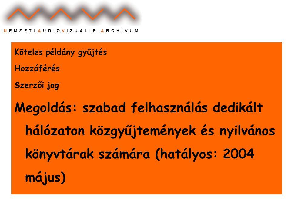 N E M Z E T I A U D I O V I Z U Á L I S A R C H Í V U M Köteles példány gyűjtés Hozzáférés Szerzői jog Megoldás: szabad felhasználás dedikált hálózaton közgyűjtemények és nyilvános könyvtárak számára (hatályos: 2004 május)