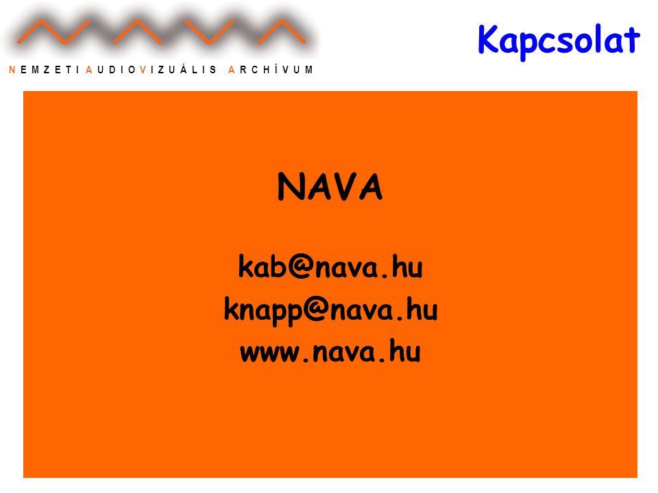 N E M Z E T I A U D I O V I Z U Á L I S A R C H Í V U M Kapcsolat NAVA kab@nava.hu knapp@nava.hu www.nava.hu