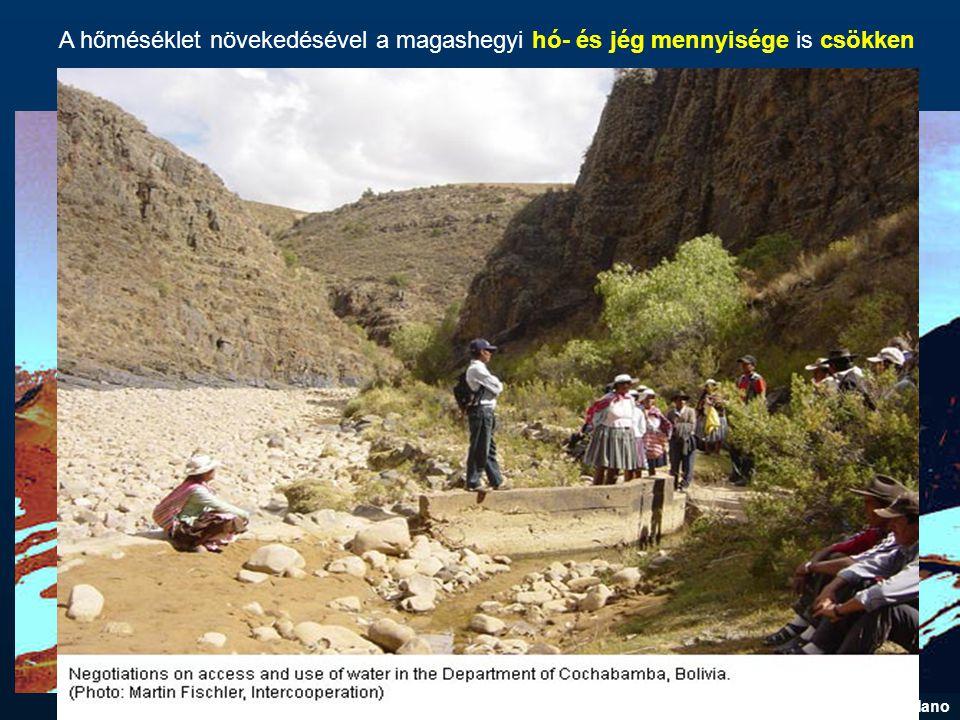 A hőméséklet növekedésével a magashegyi hó- és jég mennyisége is csökken www.watersecretsblog.com/bolivia_altiplano