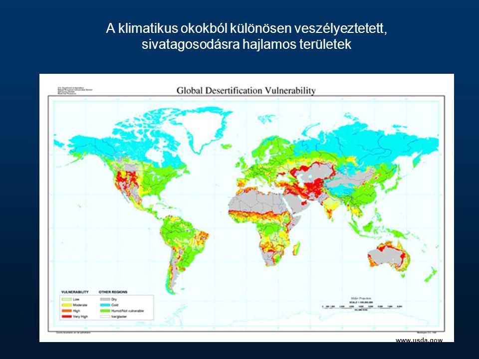 A klimatikus okokból különösen veszélyeztetett, sivatagosodásra hajlamos területek www.usda.gow