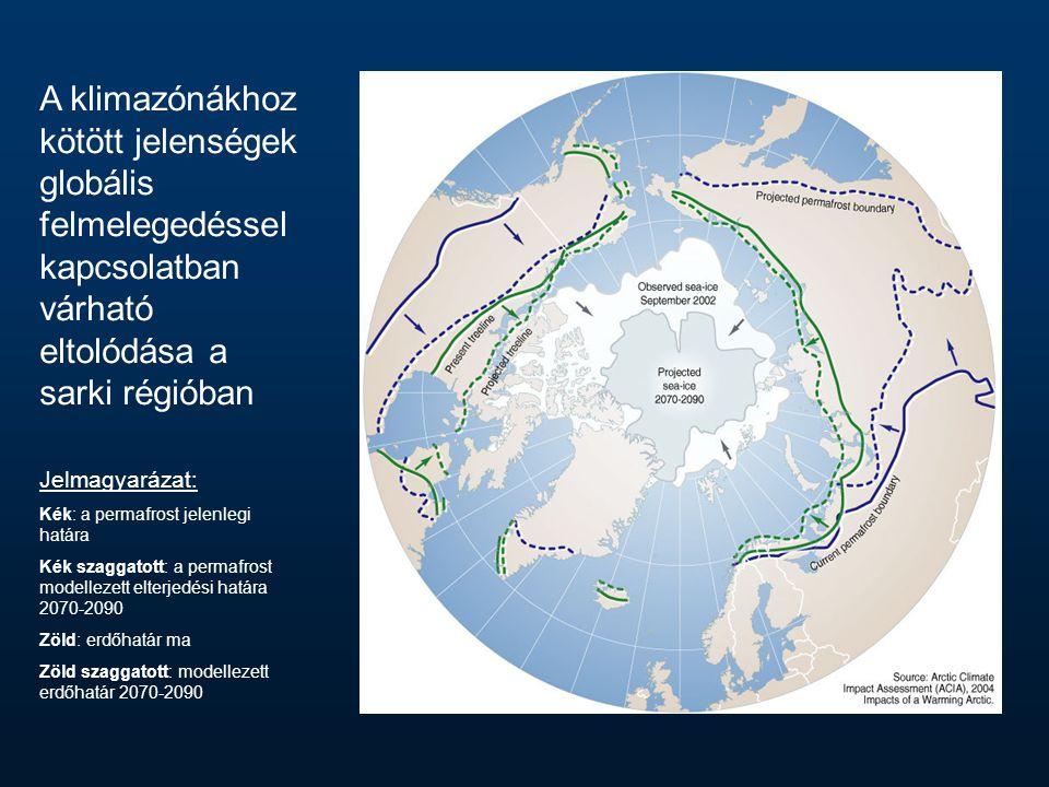 A klimazónákhoz kötött jelenségek globális felmelegedéssel kapcsolatban várható eltolódása a sarki régióban Jelmagyarázat: Kék: a permafrost jelenlegi