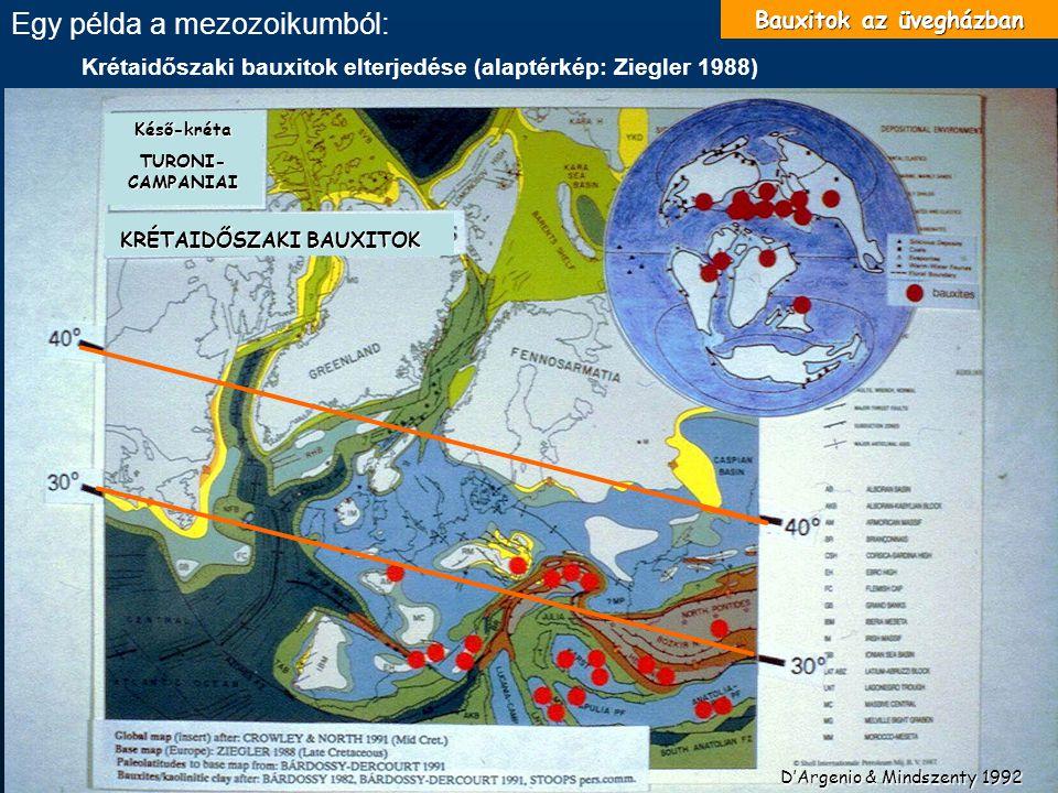 Krétaidőszaki bauxitok elterjedése (alaptérkép: Ziegler 1988) D'Argenio & Mindszenty 1992 Késő-kréta TURONI- CAMPANIAI KRÉTAIDŐSZAKI BAUXITOK Bauxitok