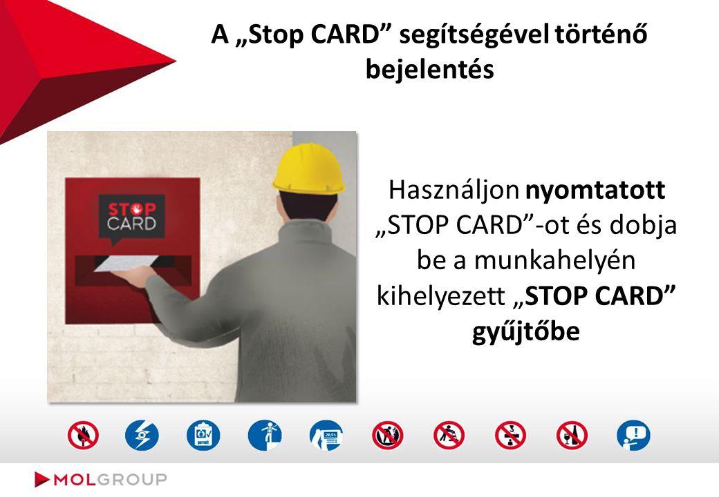 """A """"Stop CARD"""" segítségével történő bejelentés Használjon nyomtatott """"STOP CARD""""-ot és dobja be a munkahelyén kihelyezett """"STOP CARD"""" gyűjtőbe"""