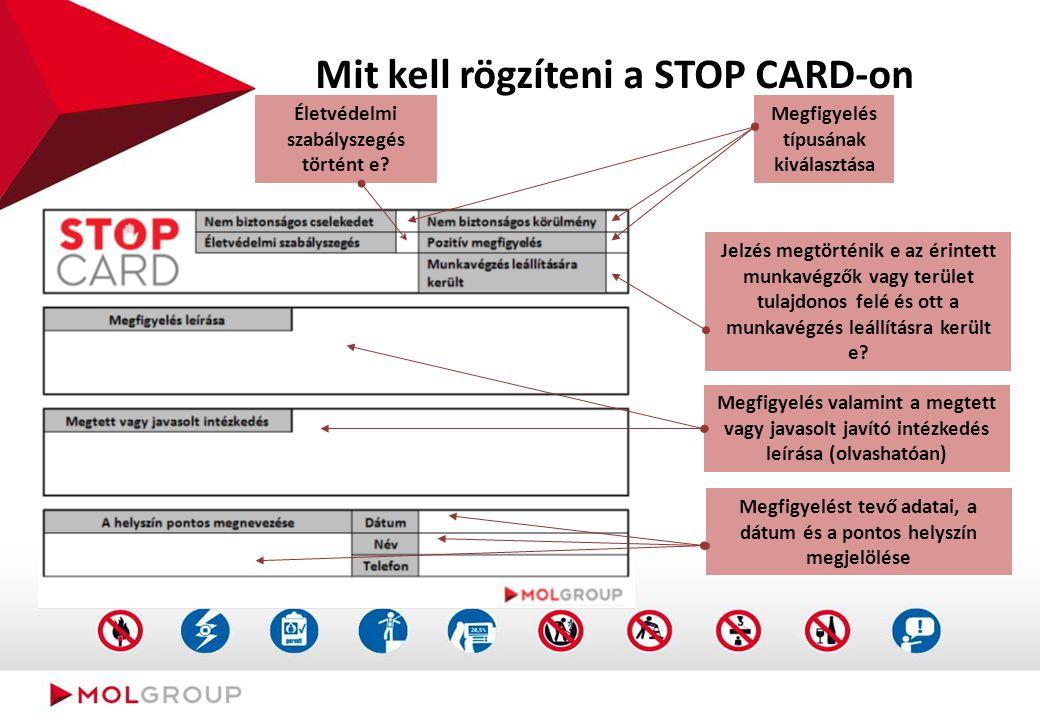 Mit kell rögzíteni a STOP CARD-on Megfigyelés típusának kiválasztása Életvédelmi szabályszegés történt e? Jelzés megtörténik e az érintett munkavégzők