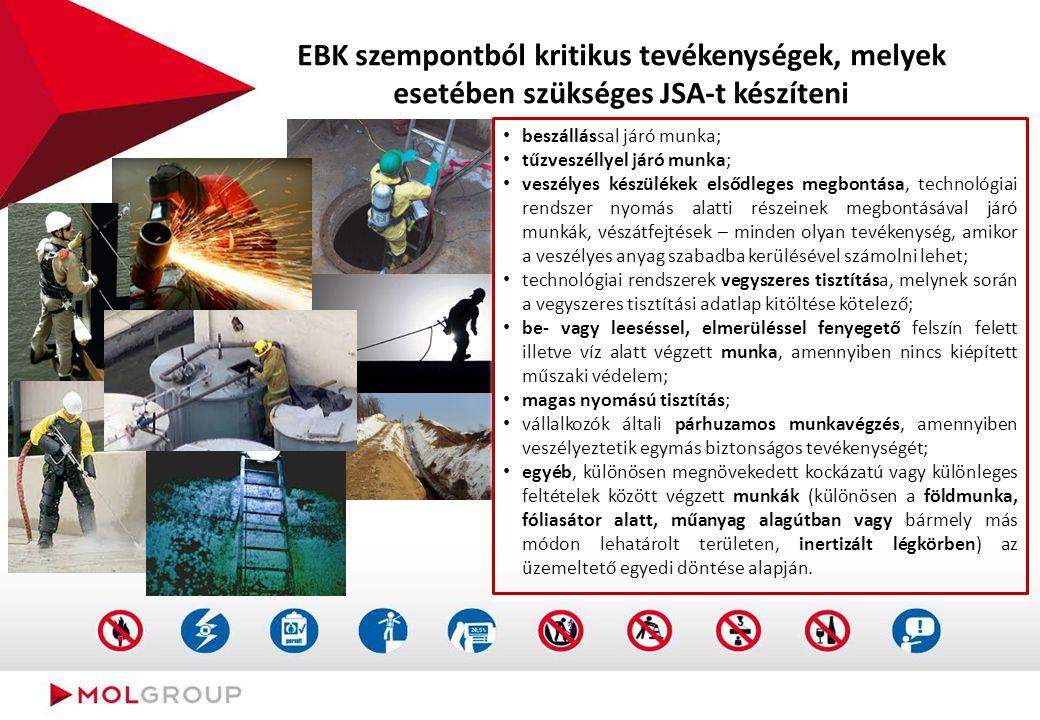 EBK szempontból kritikus tevékenységek, melyek esetében szükséges JSA-t készíteni beszállással járó munka; tűzveszéllyel járó munka; veszélyes készülé