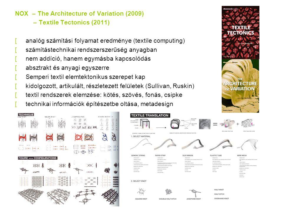NOX – The Architecture of Variation (2009) – Textile Tectonics (2011) [analóg számítási folyamat eredménye (textile computing) [számítástechnikai rendszerszerűség anyagban [nem addíció, hanem egymásba kapcsolódás [absztrakt és anyagi egyszerre [Semperi textil elemtektonikus szerepet kap [kidolgozott, artikulált, részletezett felületek (Sullivan, Ruskin) [textil rendszerek elemzése: kötés, szövés, fonás, csipke [technikai információk építészetbe oltása, metadesign