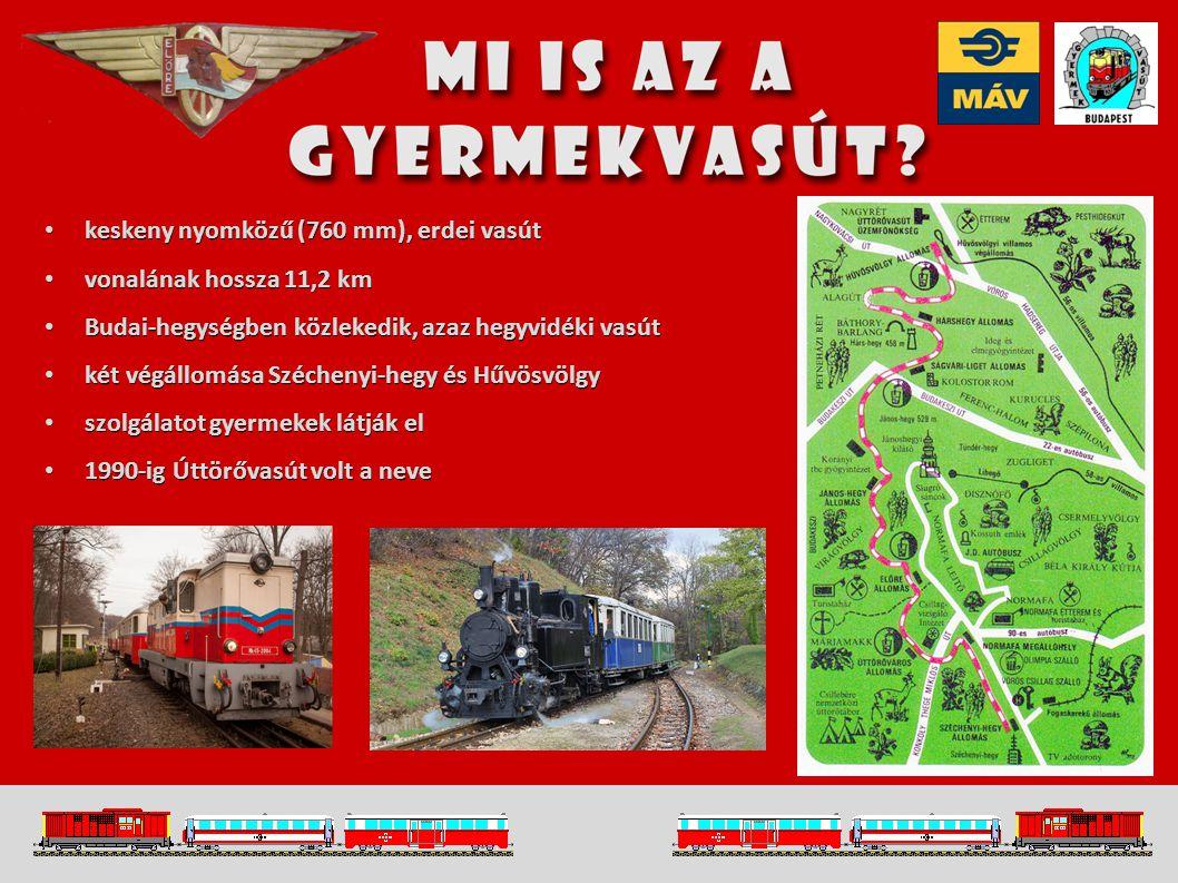 keskeny nyomközű (760 mm), erdei vasút keskeny nyomközű (760 mm), erdei vasút vonalának hossza 11,2 km vonalának hossza 11,2 km Budai-hegységben közlekedik, azaz hegyvidéki vasút Budai-hegységben közlekedik, azaz hegyvidéki vasút két végállomása Széchenyi-hegy és Hűvösvölgy két végállomása Széchenyi-hegy és Hűvösvölgy szolgálatot gyermekek látják el szolgálatot gyermekek látják el 1990-ig Úttörővasút volt a neve 1990-ig Úttörővasút volt a neve