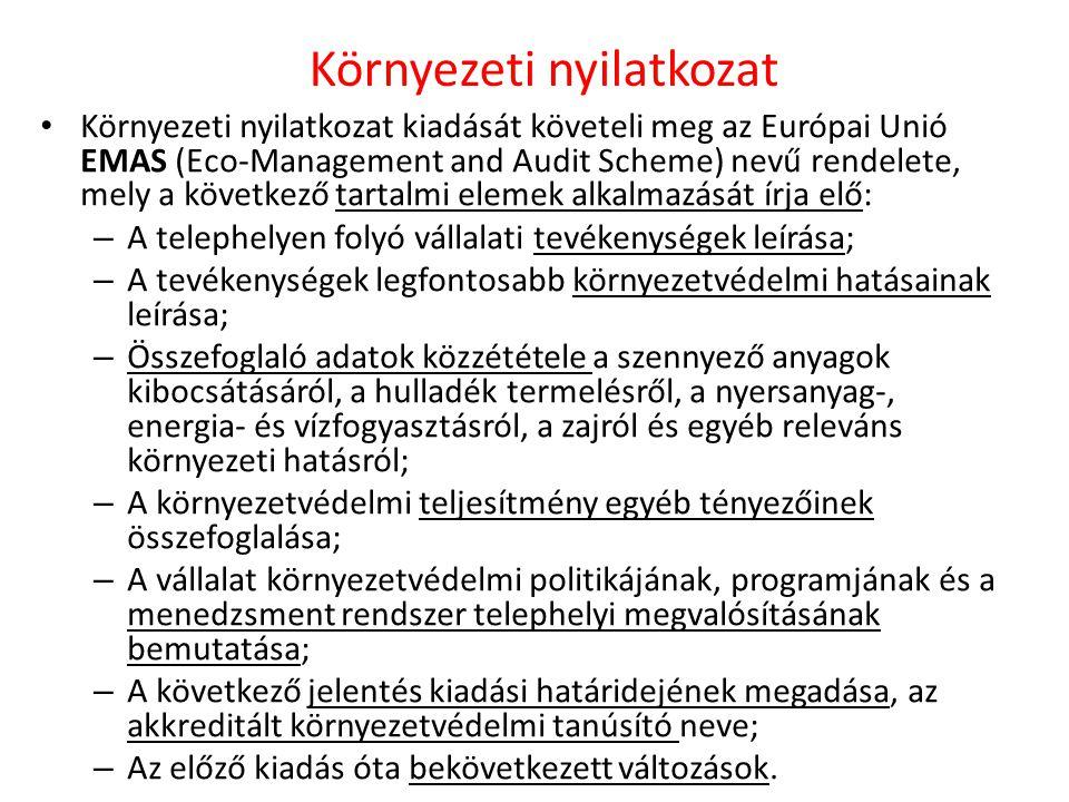 Környezeti nyilatkozat Környezeti nyilatkozat kiadását követeli meg az Európai Unió EMAS (Eco-Management and Audit Scheme) nevű rendelete, mely a következő tartalmi elemek alkalmazását írja elő: – A telephelyen folyó vállalati tevékenységek leírása; – A tevékenységek legfontosabb környezetvédelmi hatásainak leírása; – Összefoglaló adatok közzététele a szennyező anyagok kibocsátásáról, a hulladék termelésről, a nyersanyag-, energia- és vízfogyasztásról, a zajról és egyéb releváns környezeti hatásról; – A környezetvédelmi teljesítmény egyéb tényezőinek összefoglalása; – A vállalat környezetvédelmi politikájának, programjának és a menedzsment rendszer telephelyi megvalósításának bemutatása; – A következő jelentés kiadási határidejének megadása, az akkreditált környezetvédelmi tanúsító neve; – Az előző kiadás óta bekövetkezett változások.