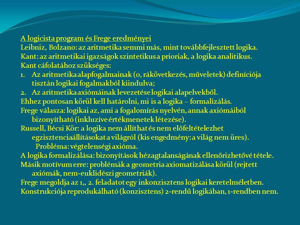 A logicista program és Frege eredményei Leibniz, Bolzano: az aritmetika semmi más, mint továbbfejlesztett logika.