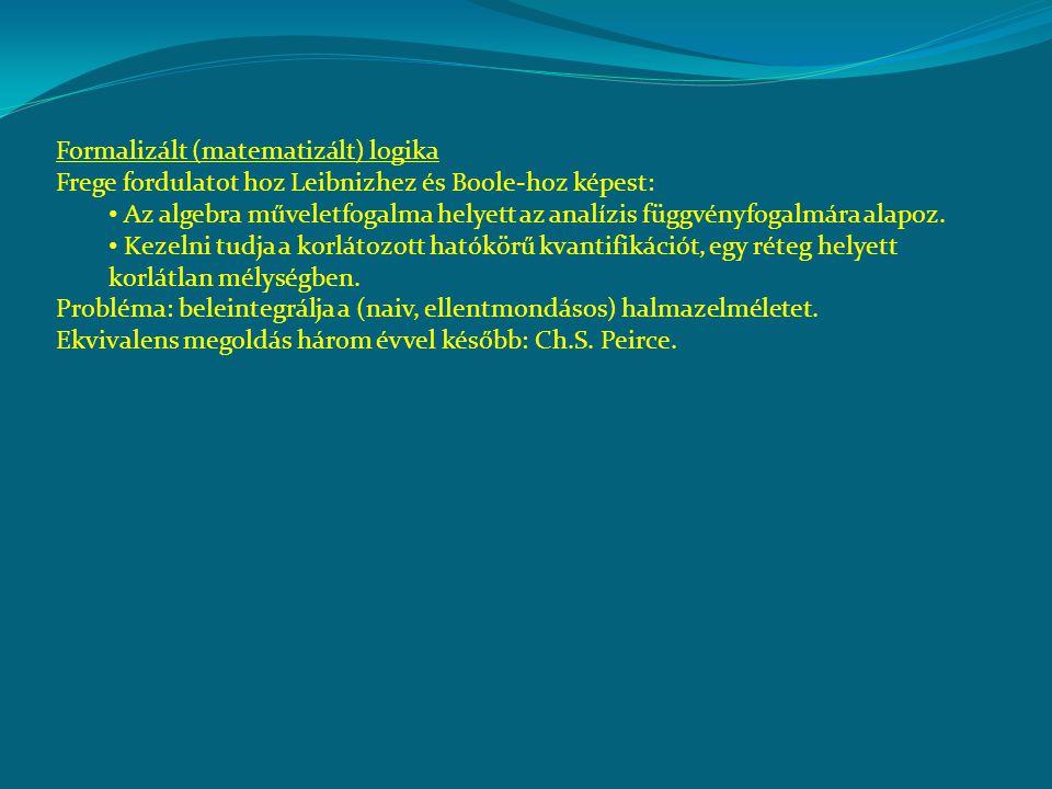 Formalizált (matematizált) logika Frege fordulatot hoz Leibnizhez és Boole-hoz képest: Az algebra műveletfogalma helyett az analízis függvényfogalmára alapoz.