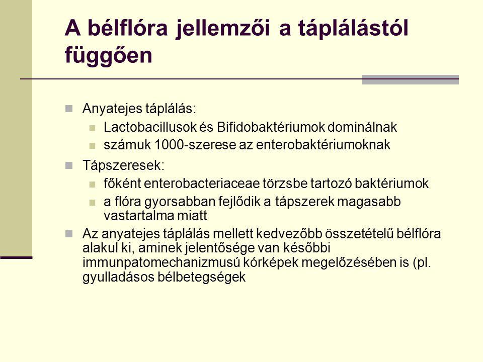 A bélflóra jellemzői a táplálástól függően Anyatejes táplálás: Lactobacillusok és Bifidobaktériumok dominálnak számuk 1000-szerese az enterobaktériumo