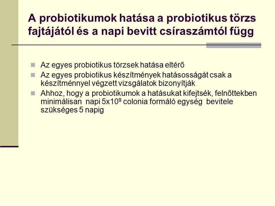 A probiotikumok hatása a probiotikus törzs fajtájától és a napi bevitt csíraszámtól függ Az egyes probiotikus törzsek hatása eltérő Az egyes probiotik