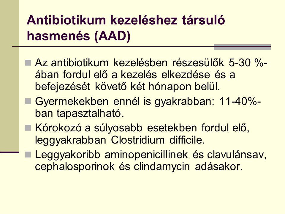 Antibiotikum kezeléshez társuló hasmenés (AAD) Az antibiotikum kezelésben részesülők 5-30 %- ában fordul elő a kezelés elkezdése és a befejezését köve