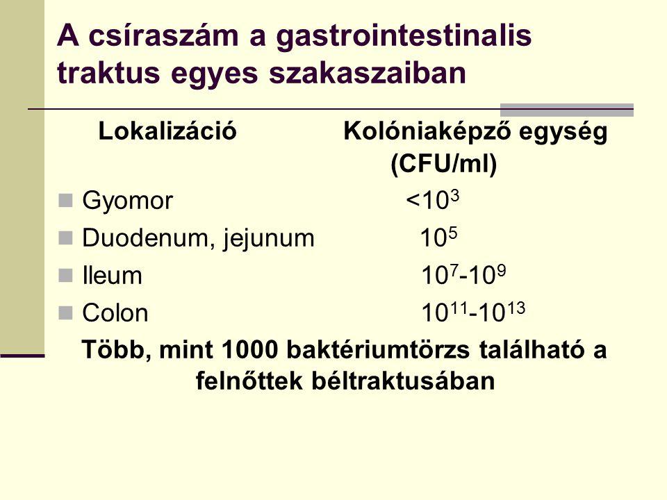 A csíraszám a gastrointestinalis traktus egyes szakaszaiban Lokalizáció Kolóniaképző egység (CFU/ml) Gyomor <10 3 Duodenum, jejunum 10 5 Ileum 10 7 -1
