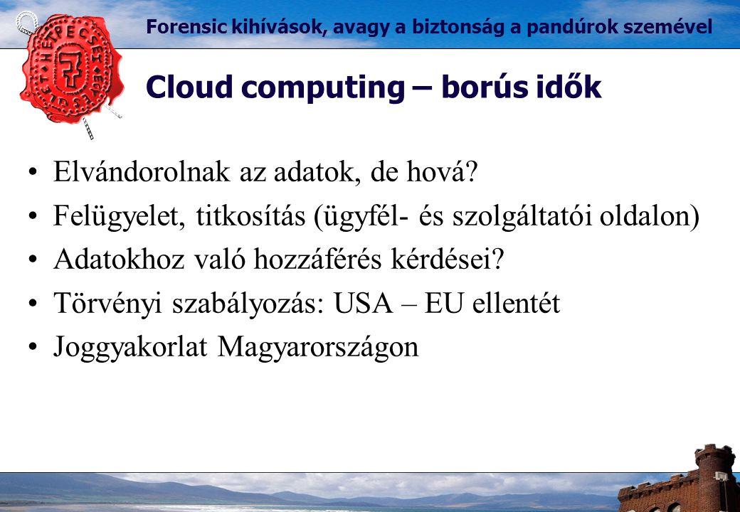 Cloud computing – borús idők Forensic kihívások, avagy a biztonság a pandúrok szemével Elvándorolnak az adatok, de hová.