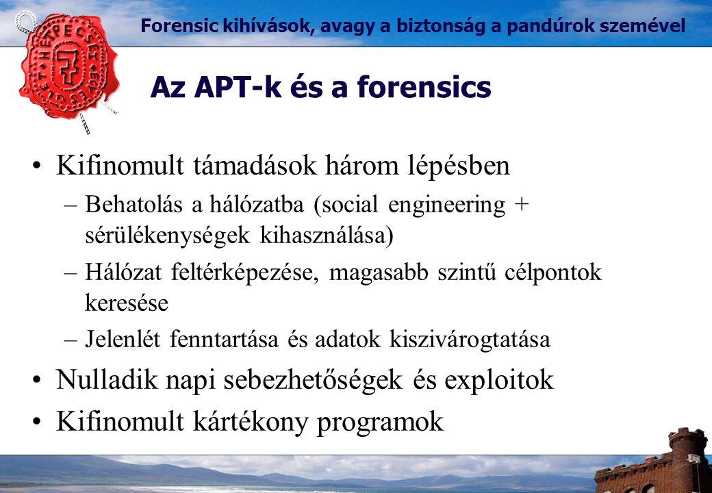 Az APT-k és a forensics Forensic kihívások, avagy a biztonság a pandúrok szemével Kifinomult támadások három lépésben –Behatolás a hálózatba (social engineering + sérülékenységek kihasználása) –Hálózat feltérképezése, magasabb szintű célpontok keresése –Jelenlét fenntartása és adatok kiszivárogtatása Nulladik napi sebezhetőségek és exploitok Kifinomult kártékony programok