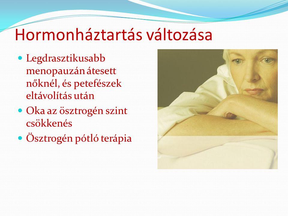 Hormonháztartás változása Legdrasztikusabb menopauzán átesett nőknél, és petefészek eltávolítás után Oka az ösztrogén szint csökkenés Ösztrogén pótló