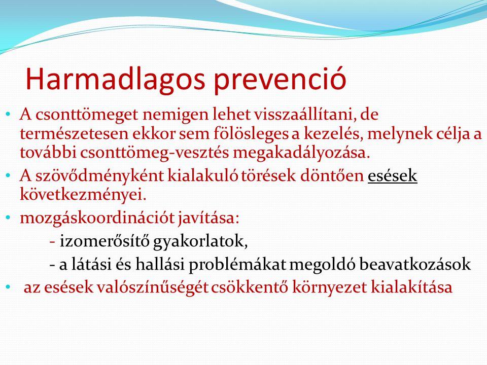 Harmadlagos prevenció A csonttömeget nemigen lehet visszaállítani, de természetesen ekkor sem fölösleges a kezelés, melynek célja a további csonttömeg