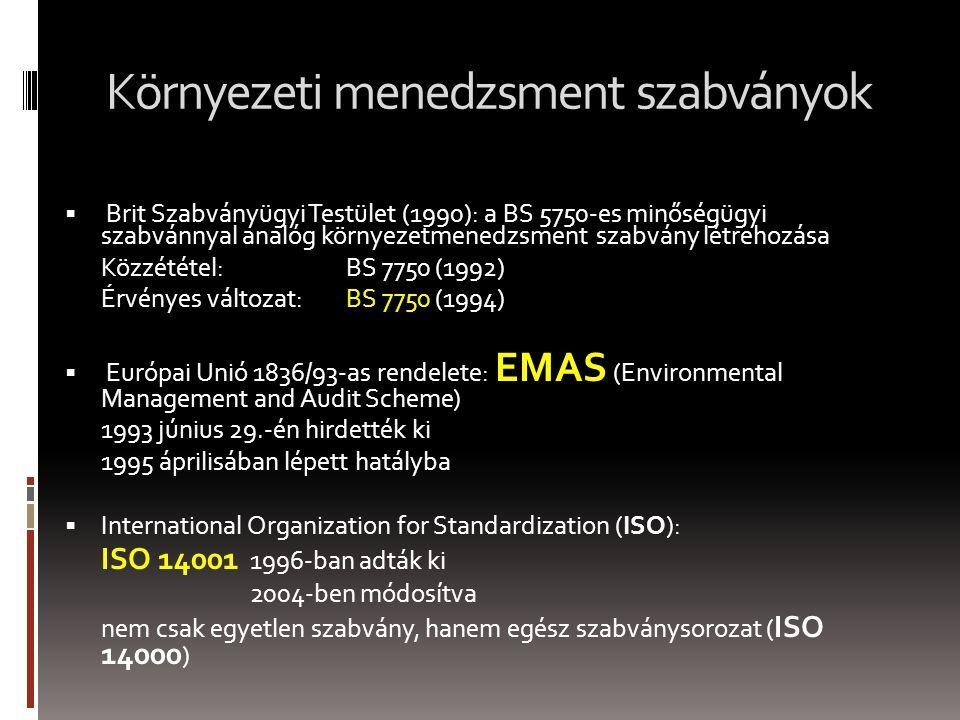 Környezeti menedzsment szabványok  Brit Szabványügyi Testület (1990): a BS 5750-es minőségügyi szabvánnyal analóg környezetmenedzsment szabvány létrehozása Közzététel: BS 7750 (1992) Érvényes változat: BS 7750 (1994)  Európai Unió 1836/93-as rendelete: EMAS (Environmental Management and Audit Scheme) 1993 június 29.-én hirdették ki 1995 áprilisában lépett hatályba  International Organization for Standardization (ISO): ISO 14001 1996-ban adták ki 2004-ben módosítva nem csak egyetlen szabvány, hanem egész szabványsorozat ( ISO 14000 )
