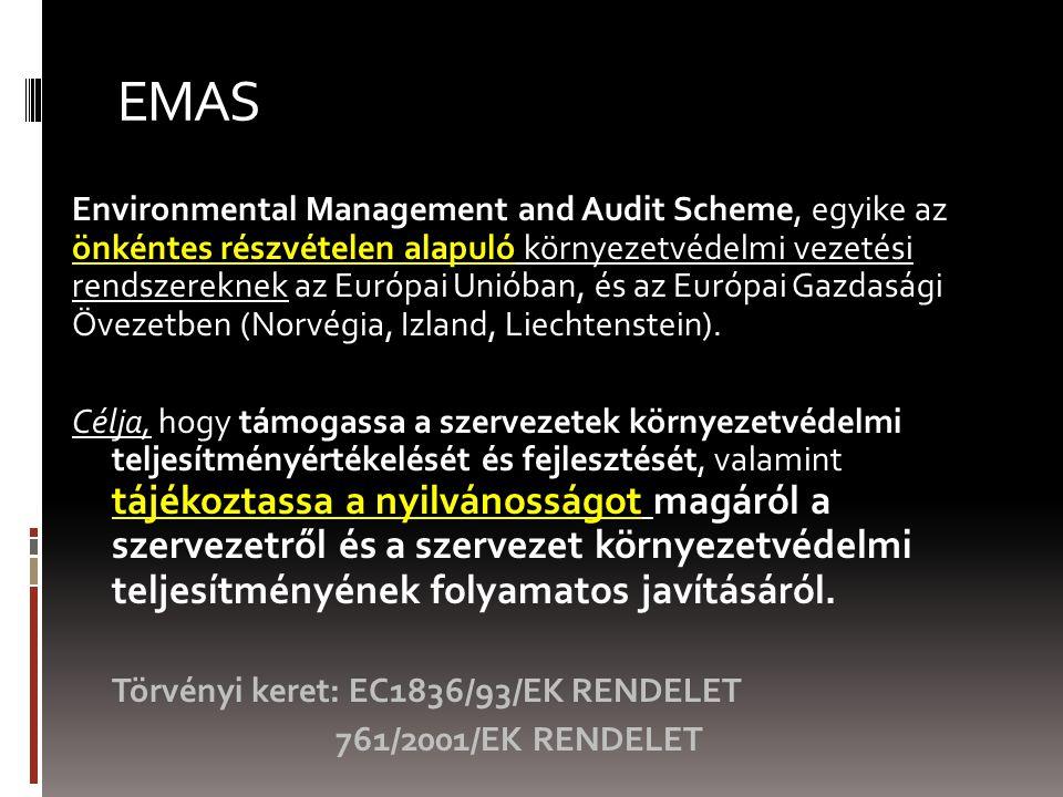 EMAS Environmental Management and Audit Scheme, egyike az önkéntes részvételen alapuló környezetvédelmi vezetési rendszereknek az Európai Unióban, és