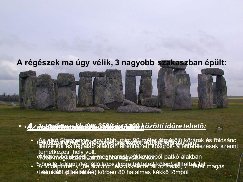 A kőegyüttes főbb részei: földsánc árok 56 kisebb gödör 5 trilithon oltárkő