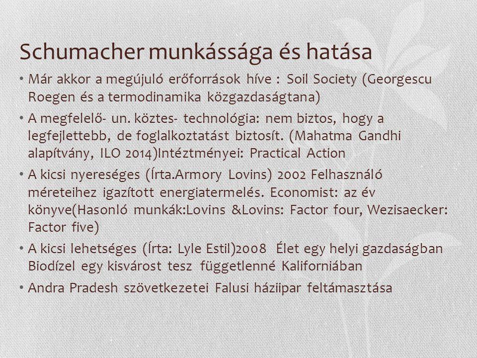 Schumacher munkássága és hatása Már akkor a megújuló erőforrások híve : Soil Society (Georgescu Roegen és a termodinamika közgazdaságtana) A megfelelő- un.