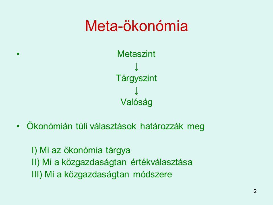 2 Meta-ökonómia Metaszint ↓ Tárgyszint ↓ Valóság Ökonómián túli választások határozzák meg I) Mi az ökonómia tárgya II) Mi a közgazdaságtan értékválas