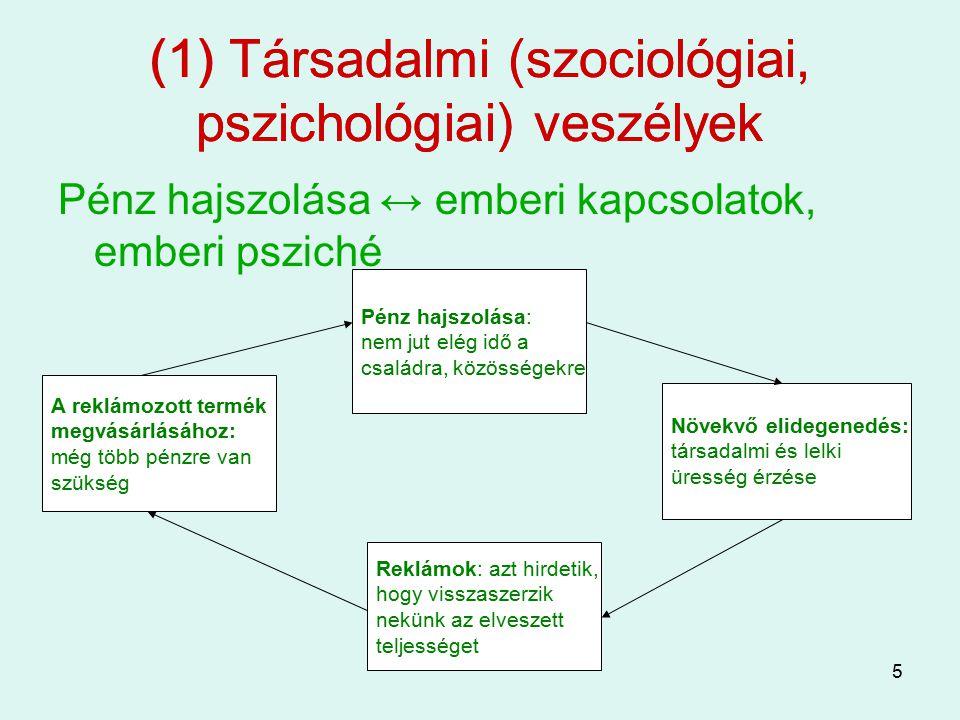 5 (1) Társadalmi (szociológiai, pszichológiai) veszélyek Pénz hajszolása ↔ emberi kapcsolatok, emberi psziché (1) Társadalmi (szociológiai, pszichológ