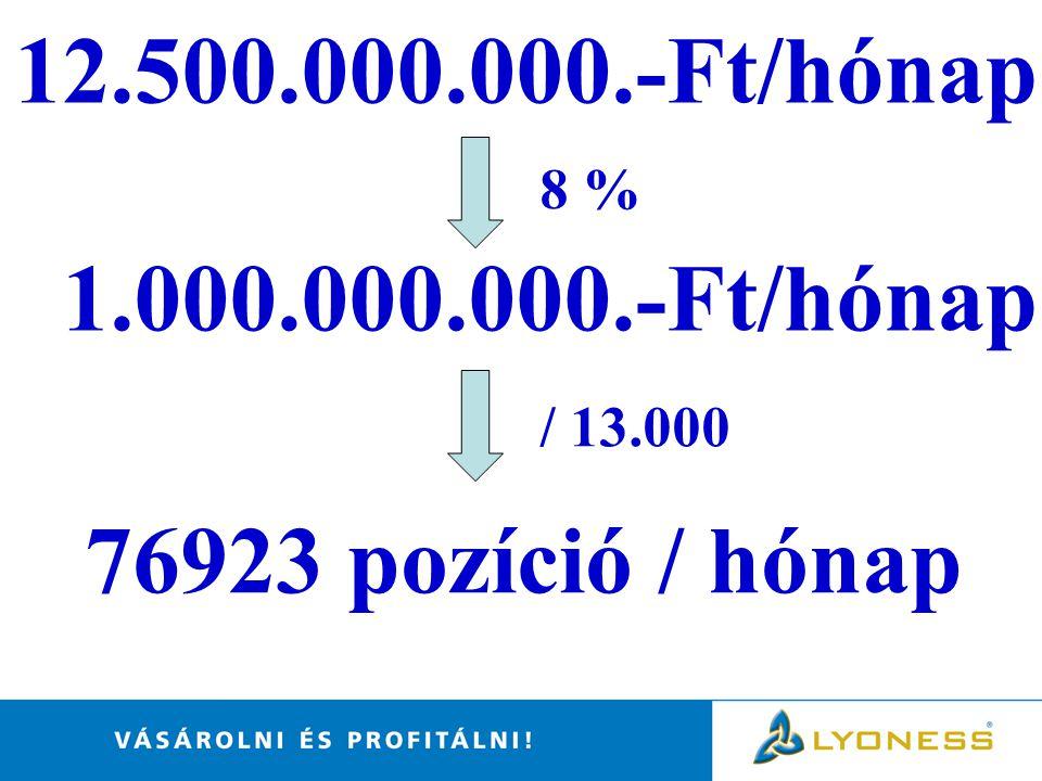 8 % 1.000.000.000.-Ft/hónap / 13.000 76923 pozíció / hónap