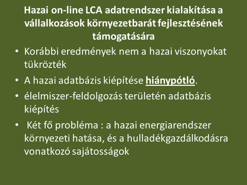 Hazai on-line LCA adatrendszer kialakítása a vállalkozások környezetbarát fejlesztésének támogatására Korábbi eredmények nem a hazai viszonyokat tükrö